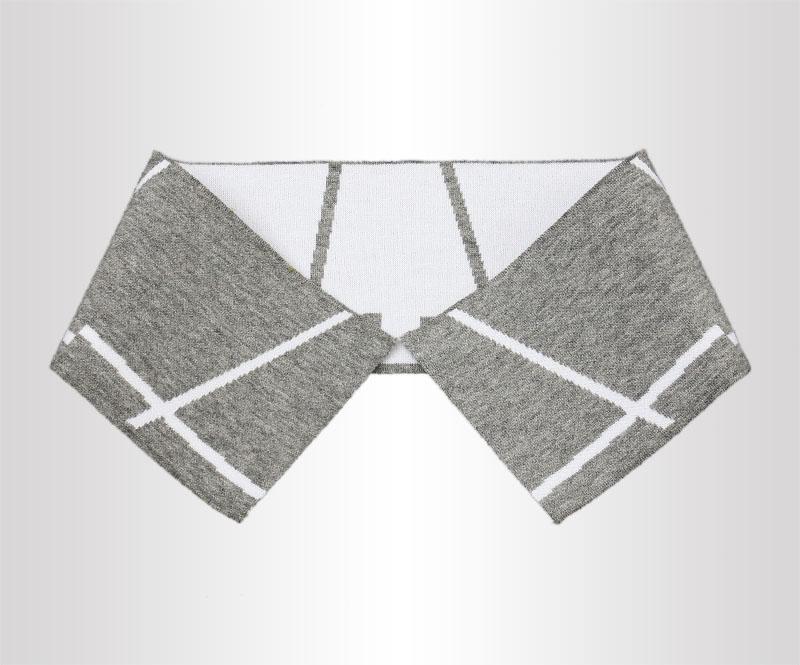灰白单丝光棉双面横机领POLO衫针织罗纹领
