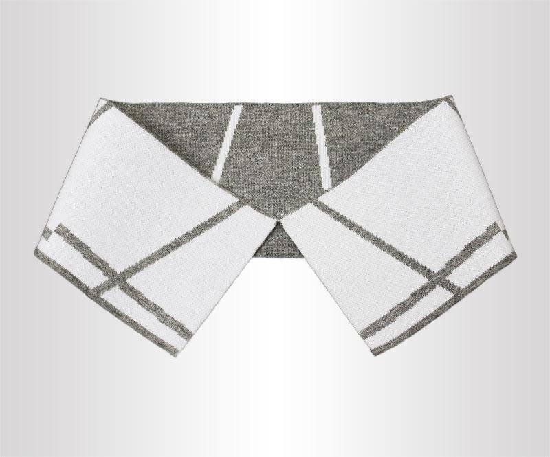 灰白带线条针织T恤衫双丝光棉横机罗纹衣领