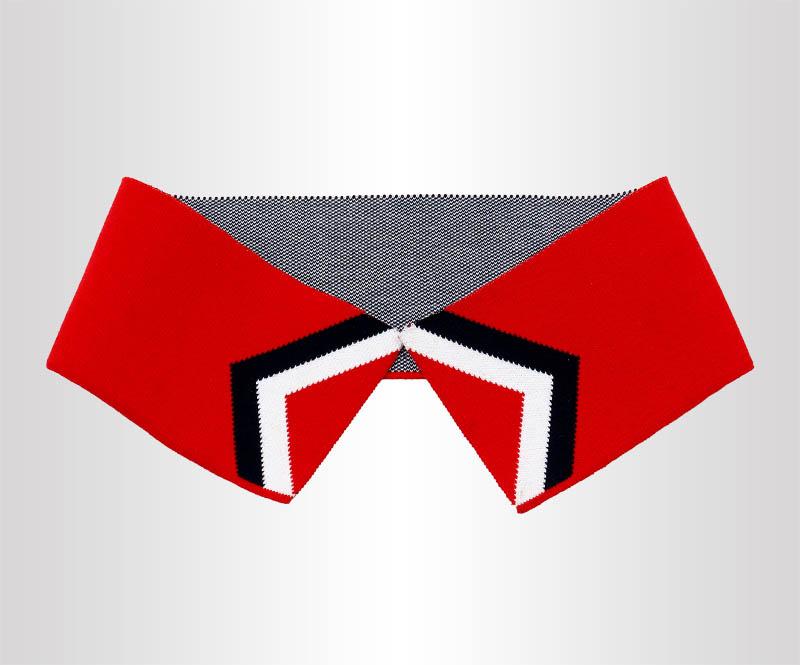 双面正面红反面灰色满天星针织罗纹横机领