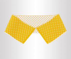 厂家直销黄色夹白点翻针丝光棉提花横机领