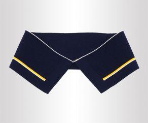 黑色夹黄条双面丝光棉针织嵌花横机罗纹领