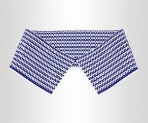 蓝白双面格子条纹针织衣领横机罗纹提花领