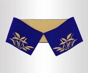 正面蓝带花图案14针双面针织衫提花横机领