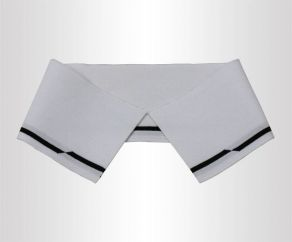 双面全白带黑边条16针丝光棉针织罗纹横机领