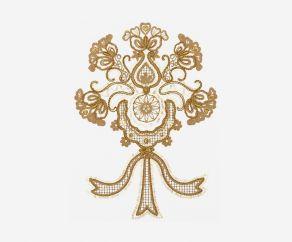 三色花图案电脑绣花链目绣珠片绣平绣卷绣