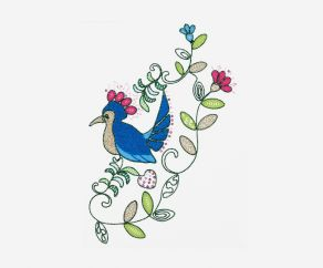 彩色小鸟图案电脑卷绣链目绣珠片绣平绣加工