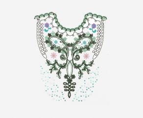 彩色衣服图案电脑卷绣珠片绣平绣链目绣加工