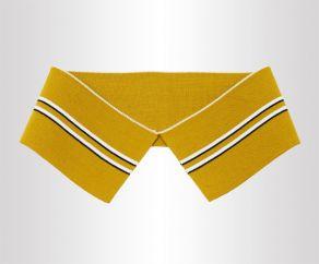 黄色夹黑白条纹双面T恤POLO衫丝光横机领