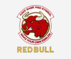 红色公牛图案电脑平绣毛巾绣链目绣贴布绣