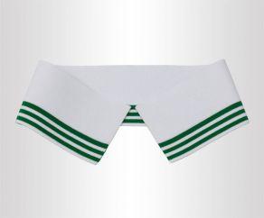 厂家定制白色夹绿色条纹单丝光棉双面横机领
